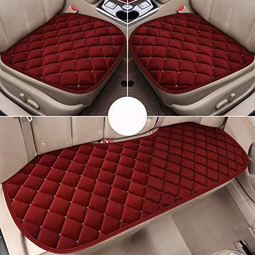Car seat cushion Siège de Voiture Tapis d'hiver Trois pièces antidérapant Sac de Stockage perméable à l'air (Rouge)