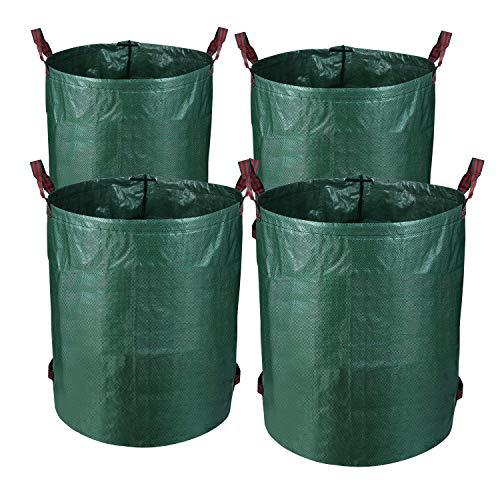 VINGO Gartensack 4 x 272 Liter - Selbstaufstellende Gartenabfallsäcke aus extrem robustem Polyethylen(PE), selbststehend Faltbar Laubsäcke Abfallsäcke