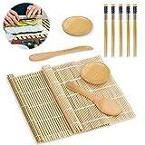 Sushi Set,11 Stück Sushi Maker Set - Sushi Selbst Machen Bambus Sushi Matte Sushi Maker Set für Anfänger, 2 Rollmatten 5 Paar Essstäbchen 1 Reisstreuer 1 Paddy Paddel 2 Serviertablett,Sushi Matte