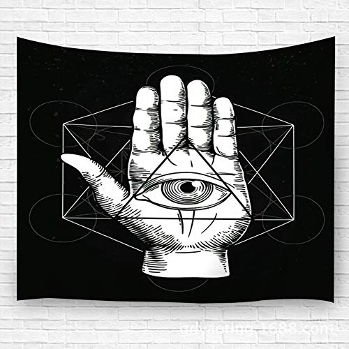 """Price comparison product image txregxy Tapestry Wall Hanging, Wall Decor Blanket Wall Carpet Hipster with Sacred Geometry Hand and All Seeing Eye Symbol Nside Triangle Pyramid MASO for Dorm Bedroom 51.2""""(H) x59.1(W)"""