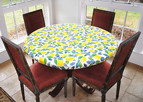 Covers For The Home Deluxe Elastic Edged Flannel Backed Vinyl Fitted Table Cover - Contemporary Lemon Pattern - Small Round - Fits Tables up to 40' - 44' Diameter