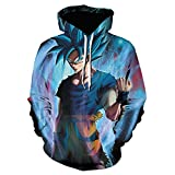 Anime Pullover Hoodie Jacket,Dragon Ball Super Saiyan Monkey King 3D Printed Hoodie, Unisex Sweatshirt-We-1384_5Xl