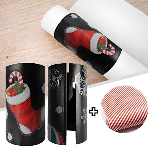 Weihnachtspapierschneider für Geschenkpapier, mit einer Rolle Weihnachts-Papier, Papierschneider, klein, Geschenkpapier Cutter