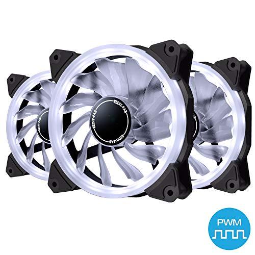 EZDIY-FAB Ventilador de Anillo de 120mm PWM LED,Ventilador de Caja PWM LED,Enfriador de CPU y Radiadores,Blanco 4-Pin 3 Pack