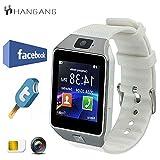 Hangang TFT LCD-Schrittzähler Bluetooth SmartWatch mit 1,56 Touchscreen zum Joggen und Laufen (DZ09) Weiß