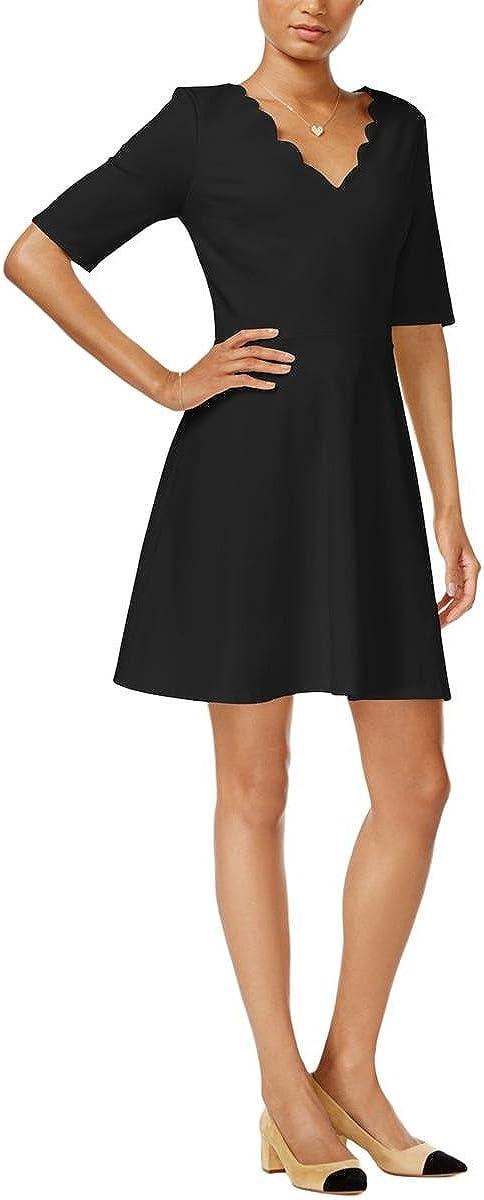 Maison Jules Women's Neck-Line Scalloped Fit & Flare Dress