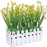 Fleurs artificielles résistantes aux UV avec pot de clôture pour maison, bureau, intérieur, extérieur, jardin, fête de mariage