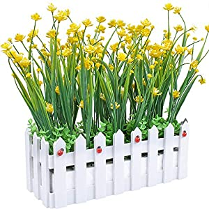 Evinis Artificial Outdoor Flowers Plants UV Resistant Fake Greenery in Picket Fence Pot Pack for Window Box Cemetery Home Indoor Garden Office Wedding Decor
