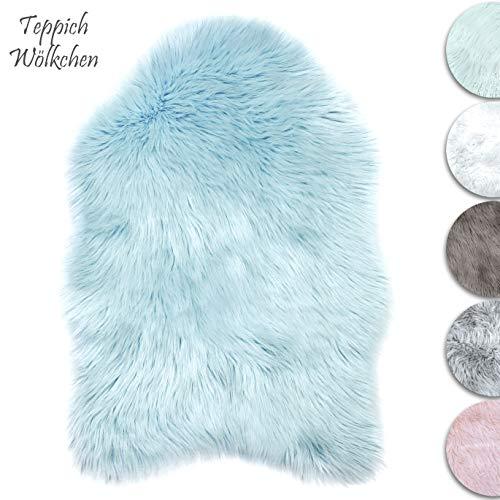 Teppich Wölkchen Lammfell-Teppich Kunstfell Schaffell Imitat | Wohnzimmer Schlafzimmer Kinderzimmer | Als Faux Bett-Vorleger oder Matte für Stuhl Sofa (Blau - 55 x 80 cm)