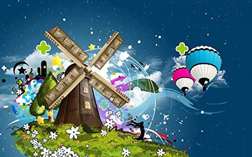 FFGHH Puzzles Puzzle 300 Piezas Jigsaw Puzzle Molino De Viento Y Globo Aerostático Adultos Y Niños Rompecabezas Imposible 42 * 28Cm