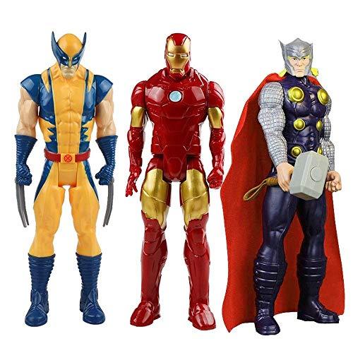 DEERO 3pc 30cm Marvel Avengers Spiderman Hulk Iron Man Captain America Thor Wolverine Venom Thanos Action Figure Toy Doll for Children (No Box1)