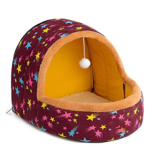 WWQQ Cama semicerrada para mascotas con parte inferior antideslizante impermeable adecuada para nido de mascotas pequeño y mediano tamaño saco de dormir portátil