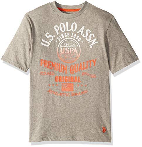 U.S. Polo Assn. Boys' Toddler Short Sleeve Graphic T-Shirt, Gradient Screen Print Marled Light Grey, 3T