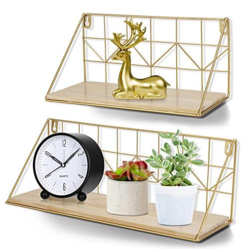 JUJOYBD Juego de 2 estantes de pared modernos, color dorado, estantería flotante para cocina, estantería de metal de alambre, estantería de madera para dormitorio, salón, cocina, baño, oficina