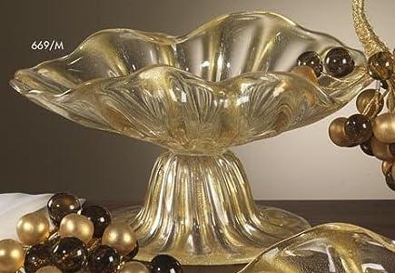 Cose belle cose rare Centro de mesa de cristal de Murano o cuenco con oro puro 24 K / Centerpiece with Murano Glass 24 K Gold Inside