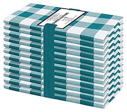 Clinica de Algodón 12 Servilletas de Tela Vintage 50 x 50 cm, Servilletas de 100% Algodón cuadros, Calidad de Hotel Duradera, para Eventos y Uso Doméstico Regular Verde Blancas