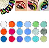 6-color Fluorescent Nail Powder, Nail Art Glitter Dust Glow In The Dark Luminous DIY Holographic Laser Powder Nail Glitter Neon Mirror Powder 3D Chrome Pigment Manicure UV Gel Nail Decoration (3PCS)