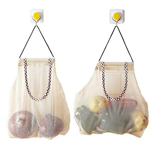 Wiederverwendbare Einkaufstasche von Metyou, 2 Stück, aus Netzstoff, Organizer, Tasche für Obst 2 x Knoblauch-Ingwer-Aufbewahrungstaschen.