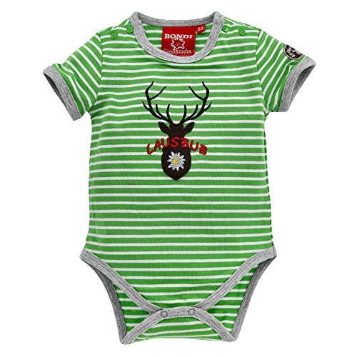Geringelt mit Lausbub-Print I Baby-Bodysuit aus Single-Jersey I Wundersch/öne Kinderbekleidung Alpengl/ück Baby-Body Lausbub aus Baumwolle I Sch/öner Jungen-Body in Gr/ün-Wei/ß I Body f/ür Babys