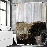 SHENGJUN 183 x 183 cm abstrakter schwarz-graubrauner Stoff-Duschvorhang, grau & braun, abstrakte Kunstmalerei, dekorative Duschvorhänge für Badezimmer, wasserdichter Stoff mit Haken