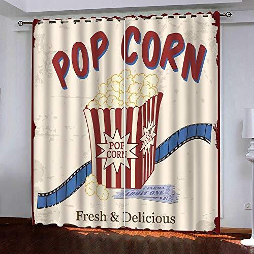 CYHLG Vorhang Blickdicht Verdunkelungsvorhang - Film Popcorn - 234x137 cm, Lärmschutzvorhang Gardinen mit ösen Vorhänge Schlaufen für gardinen Wohnzimmer Schlafzimmer - 2er Set