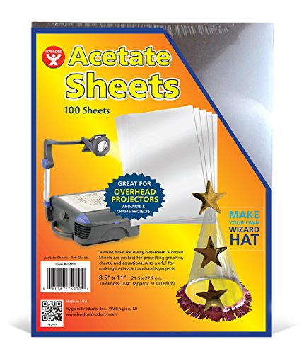 """Hygloss Products Overhead Projector Sheets Acetate Transparency Film For Arts And Craft Projects and Classrooms Not for Printers 85"""" x 11"""" 100 Sheets"""