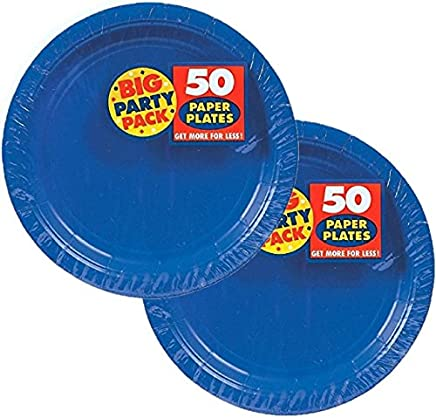 Amscan Big Party Pack Paper Luncheon Plates 7-Inch 100//Pkg Black