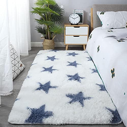 Alfombra Shaggy para Salón habitación,Pelo Largo Fluffy Alfombra,Dormitorio par Completo de alfombras, tapete Antideslizante Engrosado-A_50 x 160CM