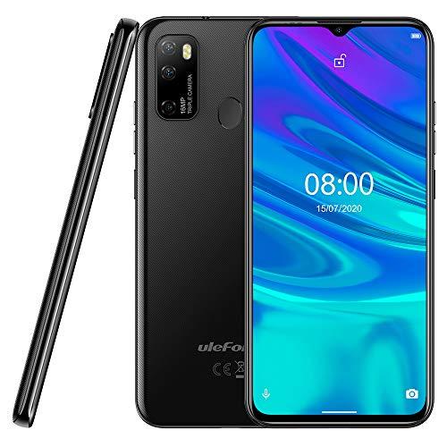 Android 10 Smartphone Offerta Ulefone NOTE 9P, 6,52' Cellulare 16MP Quad Camera, Octa-Core 4GB + 64GB, 3 slot Per Schede, Dual SIM, Batteria 4500mAh OTG, Sblocco Viso+Impronta Digitale GPS Nero