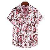 Camisa de Manga Corta con Estampado de Tendencia para Hombre, Camisa Hawaiana con Botones Sueltos, Moda al Aire Libre, Ocio, Vacaciones, Fiesta en la Playa XL