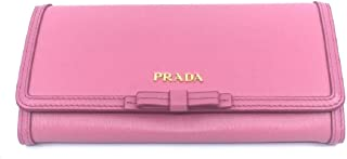 Prada Women's Snap Closure Continental Wallet Geranio Pink Detachable ID Card 1MH132
