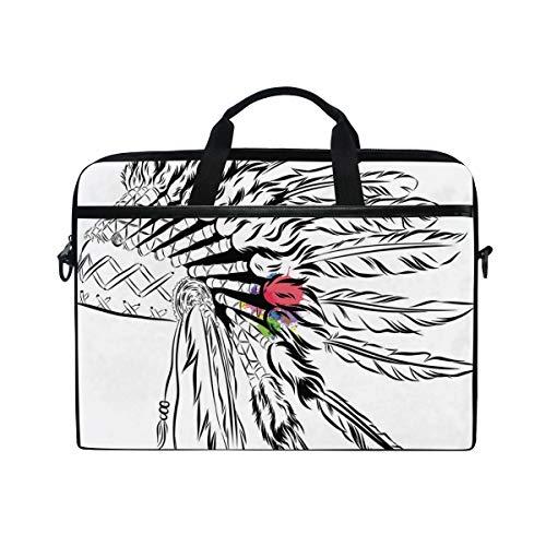 HUAYEXI HandtascheLaptop,Kopfschmuck der amerikanischen Ureinwohner im Skizzenstil mit primitiven Farbspritzern,Umhängetasche Laptop Tasche Handtasche Business Aktentasche