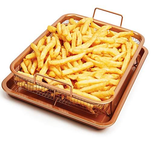 Plat de cuisson en cuivre et céramique Ica-Home pour des frites croustillantes sans graisse ni friture! Transformez votre four en friteuse à air Z7400