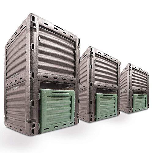 Gr8 Garden - Contenitore Ecologico per Il compostaggio, 300 Litri, per Riciclaggio del Suolo, per Esterni, Colore: Antracite/Verde Scuro