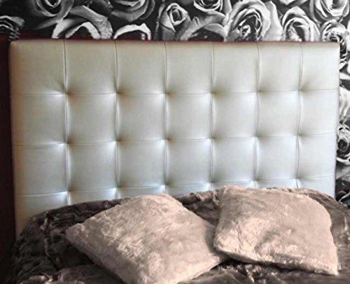 SUENOSZZZ-ESPECIALISTAS DEL DESCANSO Cabecero de Cama San Francisco tapizado en Polipiel para Camas de 90 (100 x 57 cm) Polipiel Plata