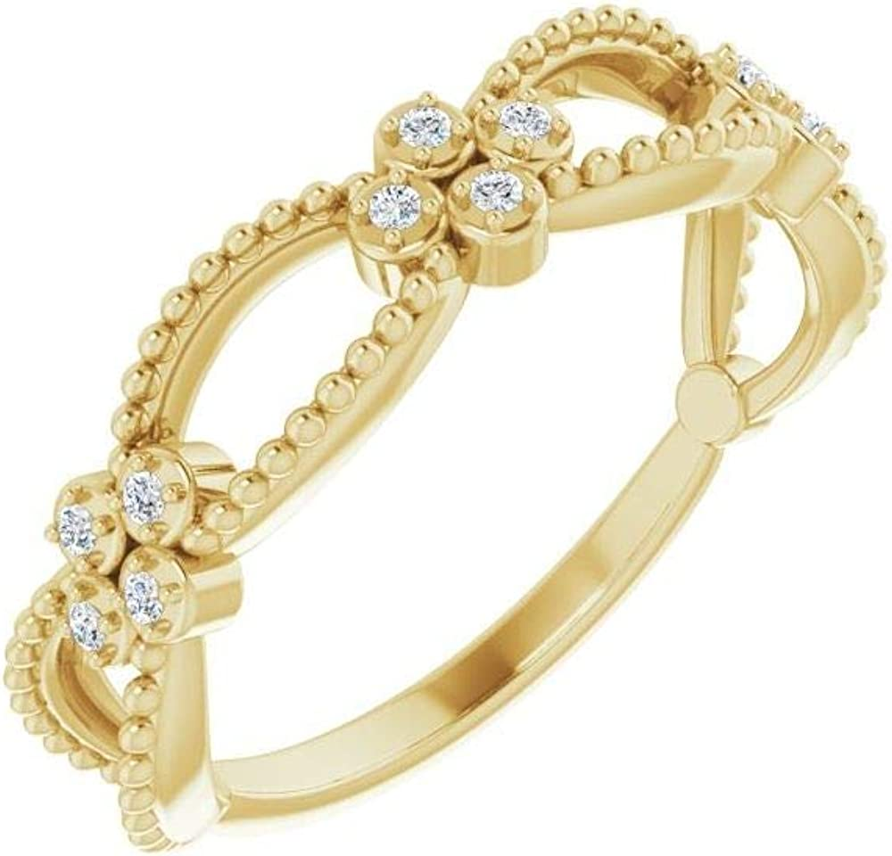 .06 Cttw Diamond Stackable Wedding Anniversary Beaded Ring Band (Width = 4.7mm)