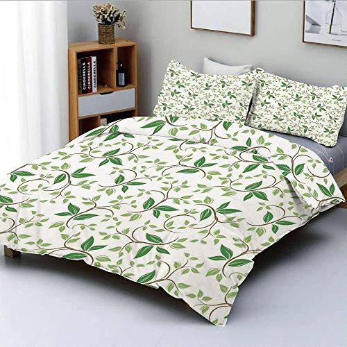 Juego de funda nórdica, patrones de hiedra con diminutas hojas verdes de fantasía, ramas, crema, ilustración contemporánea Juego de cama decorativo de 3 piezas con 2 fundas de almohada, verde marrón,