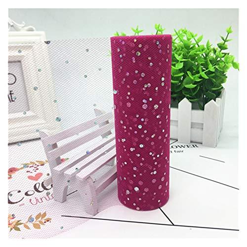 Fuxwlgs Rollos de Tul 15 cm (9,2 m/Roll) Tulle Roll Tela Brillo Lentejuelas Jardín de Boda Fiesta Tutu Falda Mesa Silla DIY Decoración Baby Shower (Color : 16 Deep Rose, Size : 15cm 10yard 1pc