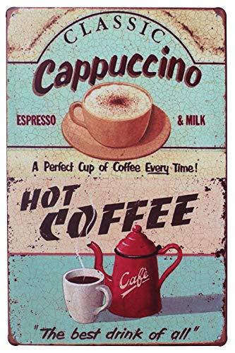 Hioni Classic Cappuccino Hot Coffee Vintage Blechschild Kaffee Poster Wandschild Wand Dekoration Metallschild Türschild