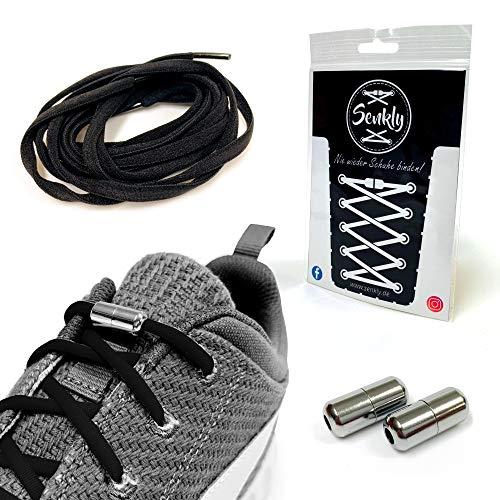 Senkly Elastische Schnürsenkel mit Metallkapsel für Sneaker (Schwarz-Silber)