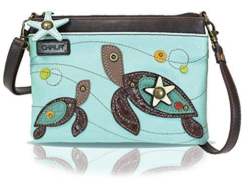 Chala Mini Crossbody Handbag, Multi Zipper, Pu Leather, Small Shoulder Purse Adjustable Strap - Turtle - Light Blue
