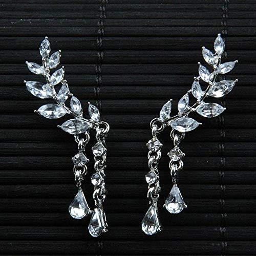 XKMY Pendientes de tuerca para mujer y mujer, alas de ángel, diamantes de imitación, aleación incrustada, pendientes de fiesta, plumas góticas (color metálico: chapado en plata)