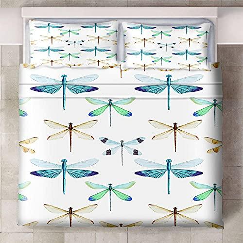 Teqoasiy - 3D Modelo De La Impresión Pintado Insectos Libélulas 135x200cm Duvet Cover Set - Suave Microfibra 3Piece El Sistema del Lecho Funda Nórdica - Suave Hipoalergénica con 2 Fundas De Almohada