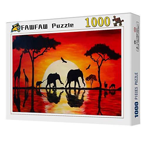 FAWFAW Puzzles 1000 Piezas, Paisaje del Atardecer De África, Elefante, Pájaro, Jirafa Classic Rompecabezas De Juguete