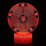 Lámpara de mesa LED con forma de balón de fútbol con cable de alimentación USB, para fanáticos del fútbol de Barcelona 7 colores