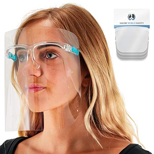 TCP Global Salon World Safety Face Shields with Glasses Frames (Pack of 4) - Ultra Clear Protective Full Face Shields to Protect Eyes, Nose, Mouth - Anti-Fog PET Plastic Sanitary Droplet Splash Guard