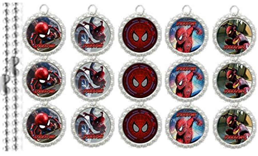 15 Spiderman Special SILVER Bottle Cap Pendant Necklaces Set 1