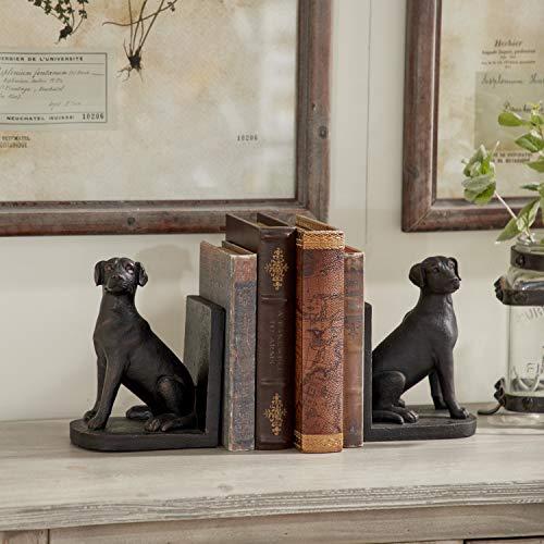 Deco 79 Bibliothèque polystone Chien Serre-Livre Lot, 8 par 15,2 cm