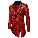 Baohooya Chaqueta de Trajes para Hombre - Chaqueta de Traje de Esmoquin con Lentejuelas para Hombres Slim Fit Casual Pantalón Vestido de Fiesta de Boda Abrigo(Rojo,M)