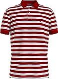 Tommy Hilfiger Stripe Regular Polo Camisa, Primario Rojo/Blanco, XL para Hombre